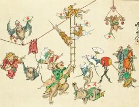 河鍋暁斎(1831-1889)は、時代が大きく揺れ動いた幕末から明治を生きた絵師です。幼い頃に浮世絵師の歌川国芳に入門したのち、狩野派に学び19歳の若さで修業を終え、さらに流派に捉われず様々な画法を習得しました。仏画から […]